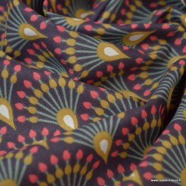 Tissu coton Enduit Ginza Aubergine et Camel -  Oeko tex