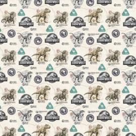 Tissu Cretonne coton dinosaures Jurassic World - oeko tex