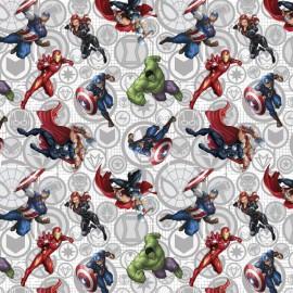 Tissu Cretonne coton Marvel Mania fond gris - oeko tex