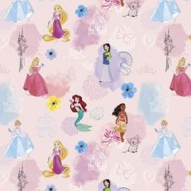 Tissu Cretonne coton Princesses Disney - oeko tex
