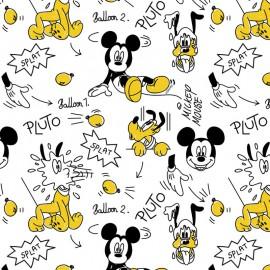 Tissu Cretonne coton motif Comic Mickey et Pluto - oeko tex