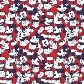 Tissu Cretonne coton motif Mickey fond Rouge - oeko tex