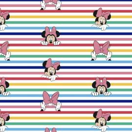 Tissu Cretonne coton à rayures motif Minnie - oeko tex