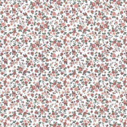 Tissu popeline Poppy motifs Fleurs roses Romantic Flowers - Oeko tex