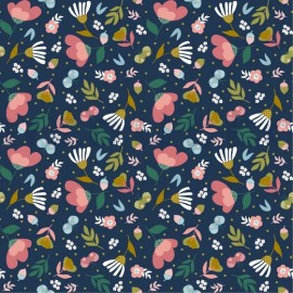 Tissu popeline motifs fleurs fond marine by Poppy - Oeko tex