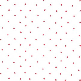 Tissu Popeline motifs fraises fond Blanc - Oeko tex
