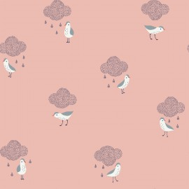 Tissu coton Enduit Oiseaux et nuages fd rose Katia Fabrics -  Oeko tex