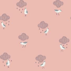 Tissu coton Enduit Oiseaux et nuages fd blanc -  Oeko tex