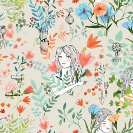 Tissu popeline Oeko tex imprimé Fleurs et jeunne fille Katia Fabrics - oeko tex