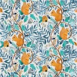 Tissu popeline Oeko tex imprimé écureuils et feuilles Katia Fabrics - oeko tex
