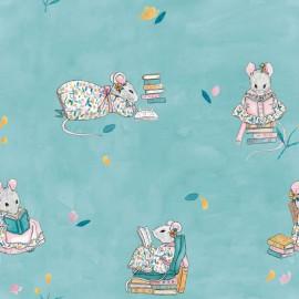 Tissu popeline Oeko tex imprimé souris en pleine lecture Katia Fabrics - oeko tex