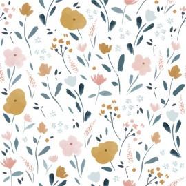 Tissu popeline Oeko tex imprimé fleurs fond blanc Katia Fabrics - oeko tex