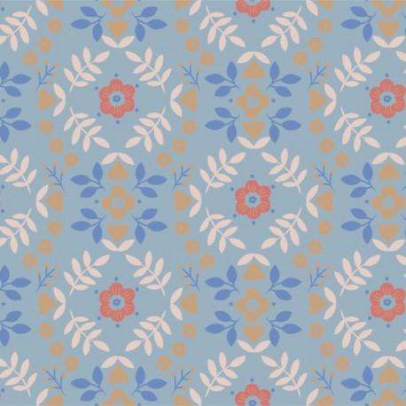 Tissu popeline Oeko tex imprimé fleurs fond bleu par Katia Fabrics - oeko tex