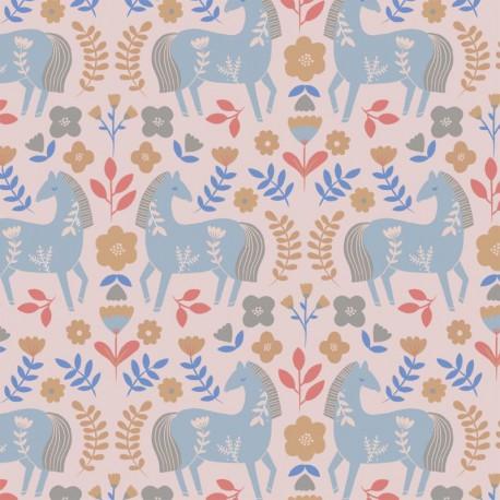 Tissu popeline Oeko tex imprimé chevaux et fleurs Katia Fabrics - oeko tex