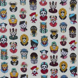 Tissu coton imprimé Personality Chats masqués fond Ivoire - Oeko tex