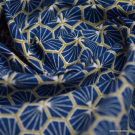 Tissu coton Riad Enduit coloris Marine Oeko tex