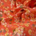 Tissu coton motifs fleurs Sakura Corail - Oeko tex