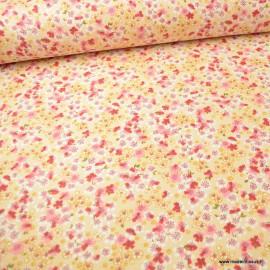 Tissu coton motifs fleurs Sakura Ivoire - Oeko tex