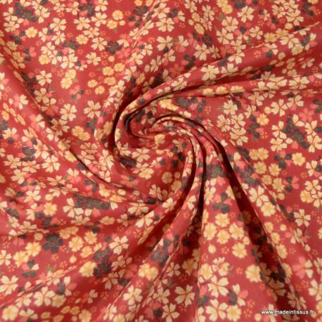 Tissu coton motifs fleurs Sakura Rouge - Oeko tex