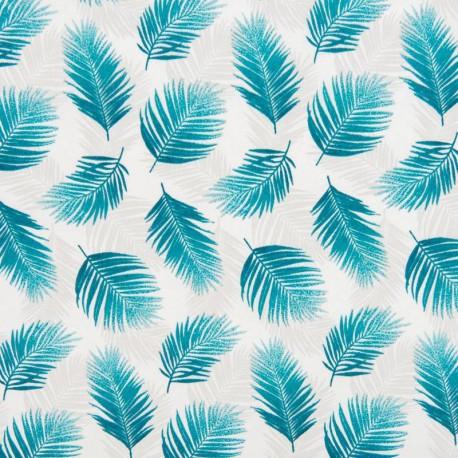 Tissu coton imprimé feuilles de Palme canard