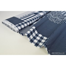 Tissu Popeline coton imprimé patchwork - oeko tex
