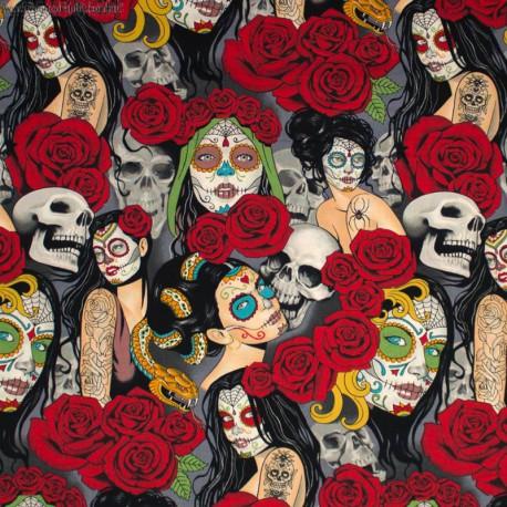 """Tissu Popeline coton imprimé têtes de morts """"Nocturna"""" par Alexander Henry"""
