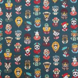 Tissu coton imprimé Personality Chats masqués fond Pétrole - Oeko tex