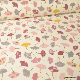 Tissu coton imprimé feuilles de Ginkgo Rose fond Ivoire - Oeko tex