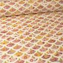 Tissu coton imprimé éventails japonais Akemi Rose fond Ivoire - Oeko tex