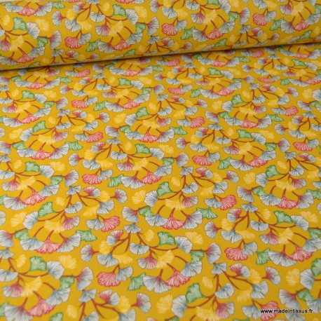 Tissu coton imprimé feuilles de Ginkgo Aphrodite fond Safran - Oeko tex