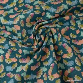 Tissu coton imprimé feuilles de Ginkgo Aphrodite fond Emeraude - Oeko tex