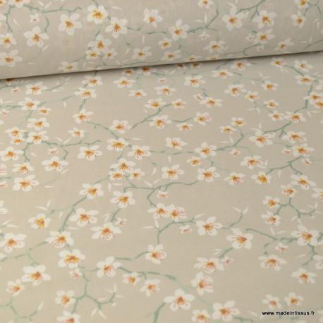 Tissu coton imprimé fleurs Amandier fond Lin - Oeko tex
