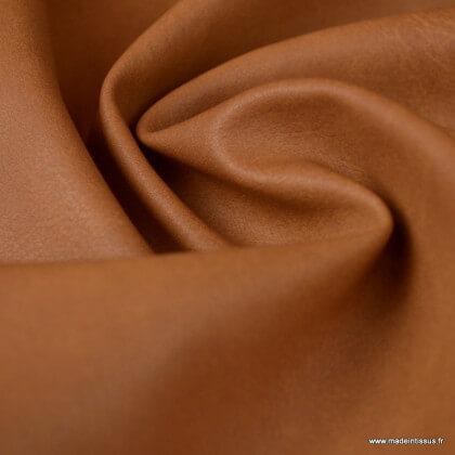 Tissu Faux cuir coloris Fauve
