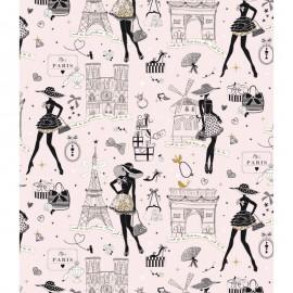 Tissu cretonne coton Oeko tex imprimé Moi Paris, Notre Dame, tour eiffel, arc de triomphe... fond rose