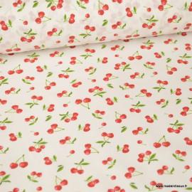 Tissu coton motifs Cerises fond Blanc - Oeko tex