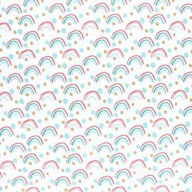 Tissu coton Poltex imprimé arc en ciel vert et ocre fond blanc. Oeko tex