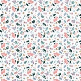 Tissu popeline motifs fleurs fond blanc by Poppy - Oeko tex