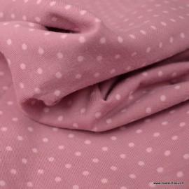 Tissu jersey Oeko tex motifs pois blancs fond vieux rose