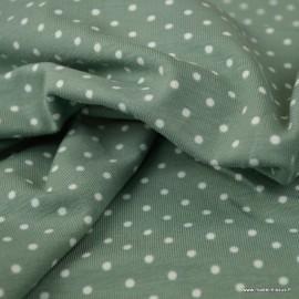 Tissu jersey Oeko tex motifs pois blancs fond Céladon