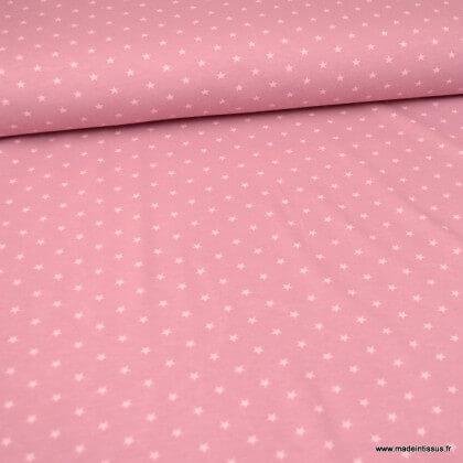 Tissu jersey Oeko tex motifs étoiles fond Vieux rose