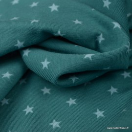 Tissu jersey Oeko tex motifs étoiles fond Pétrole