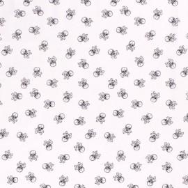 Tissu Popeline têtes de mort fond Blanc - oeko tex