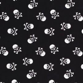 Tissu Popeline grosse têtes de mort fond Noir - oeko tex