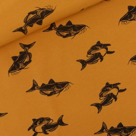 Tissu jersey French terry motifs carpes Oeko tex See you at Six Collection Carps