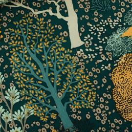 Tissu gabardine (canva) motifs foret See you at Six Collection Oriental Garden - oeko tex