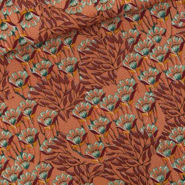 Tissu gabardine (canva) Brun, See you at Six Collection Gilly Flowers - oeko tex