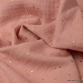 Tissu Double gaze coton Glitter à pois or coloris Rose Thé - oeko tex