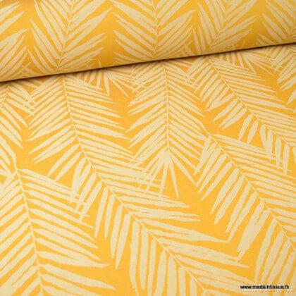 Tissu ameublement jacquard Ocre en grande lergeur - motifs feuillage thème Tasmanie