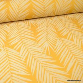 Tissu ameublement jacquard Ocre en grande largeur - motifs feuillage thème Tasmanie