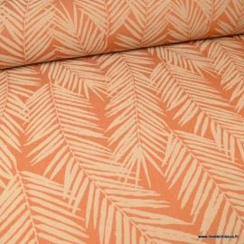 Tissu ameublement jacquard Terracotta en grande largeur - motifs feuillage thème Tasmanie
